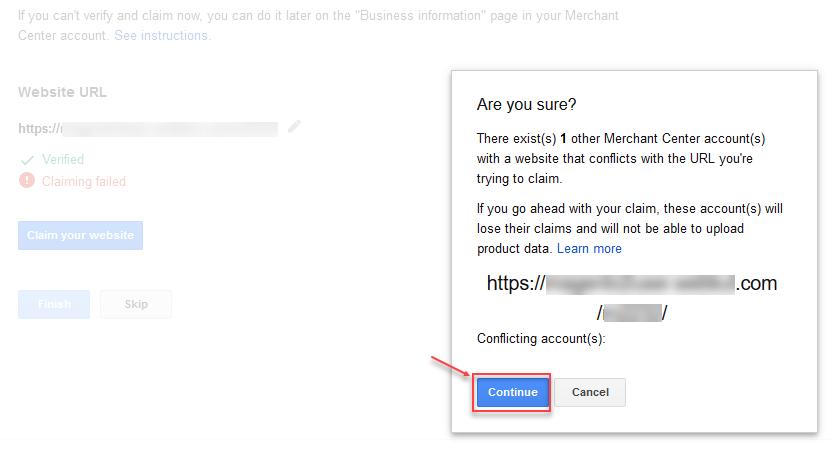 google shopping feed magento 2 verify and claim website