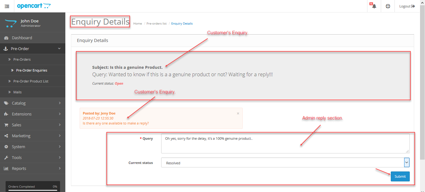 customer's enquiry