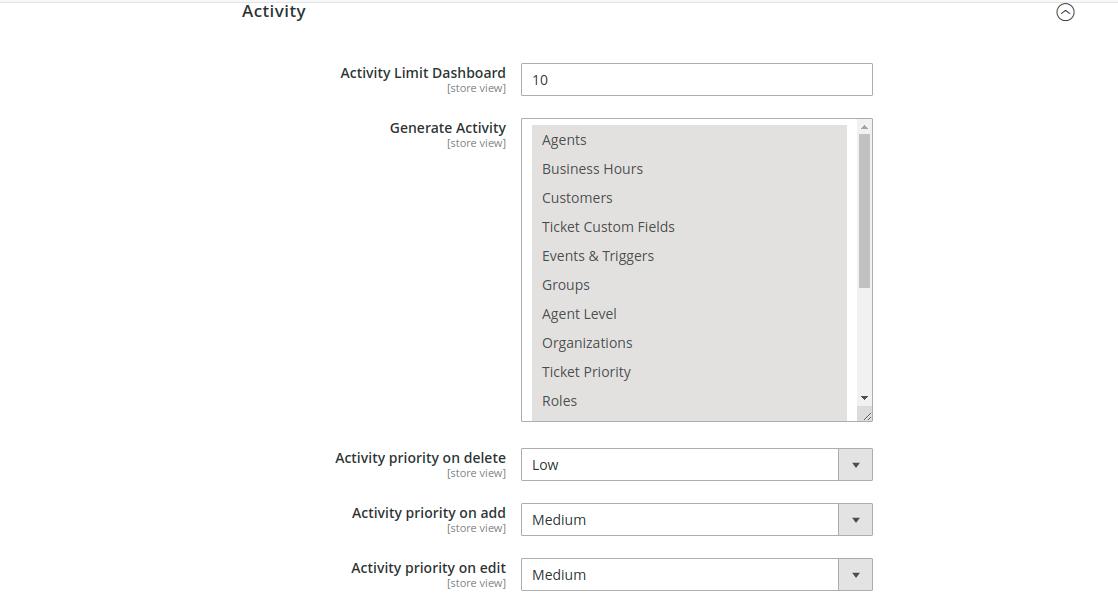 Magento 2 helpdesk - Helpdesk Activity Setting