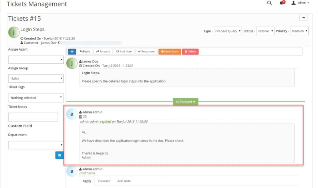 Magento 2 Helpdesk Admin Reply