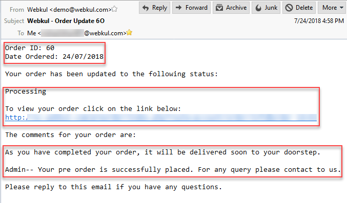 order mail notification