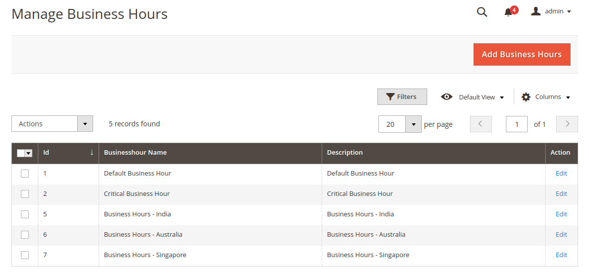 Magento 2 Helpdesk - Manage Business Hours