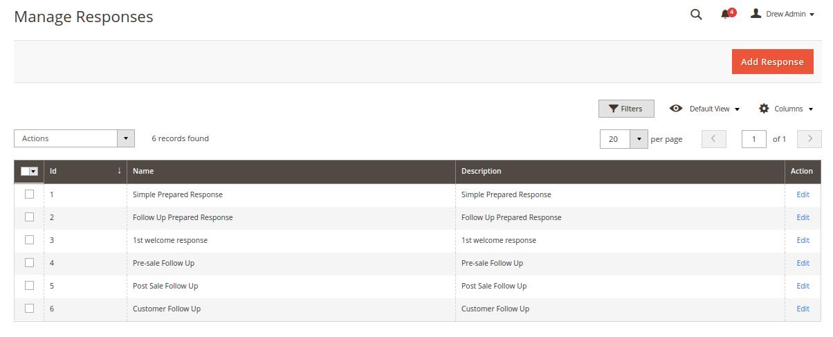 Magento 2 Helpdesk - Manage Responses