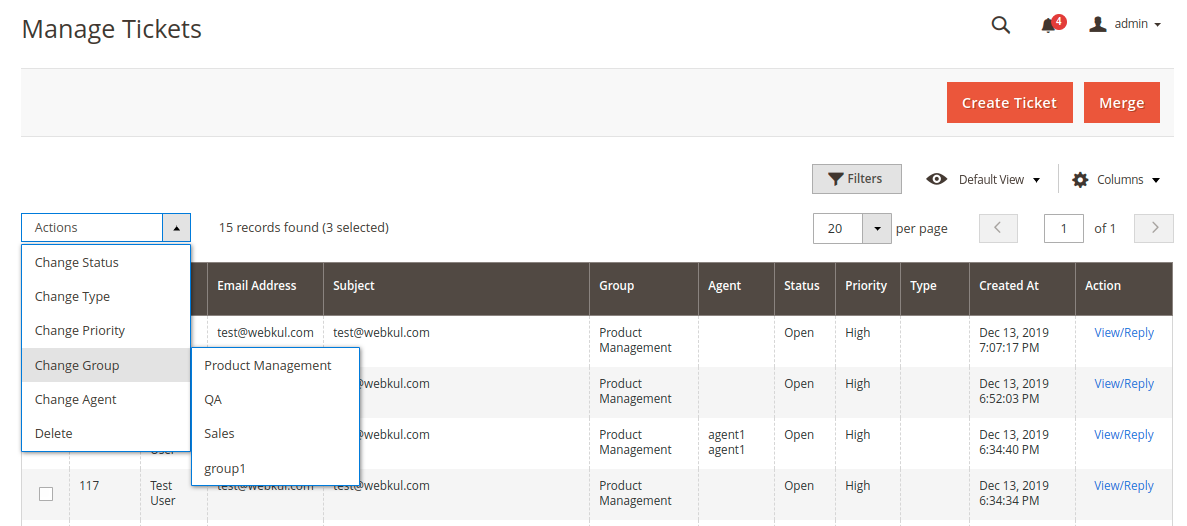 Magento 2 Helpdesk Manage Ticket Actions