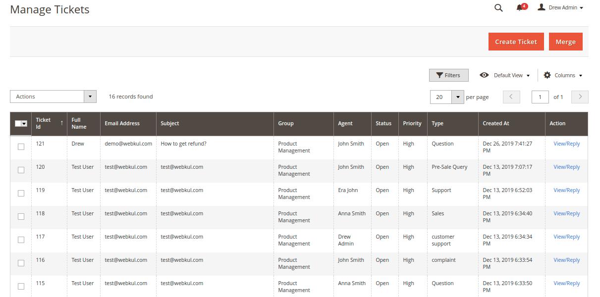 Magento 2 Helpdesk - Ticket List