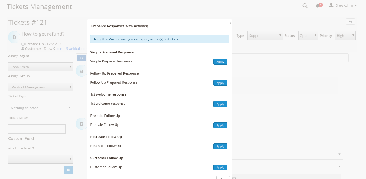 Magento 2 Helpdesk - Prepared Response Apply