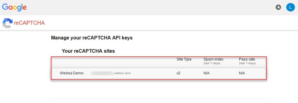 recaptcha API key