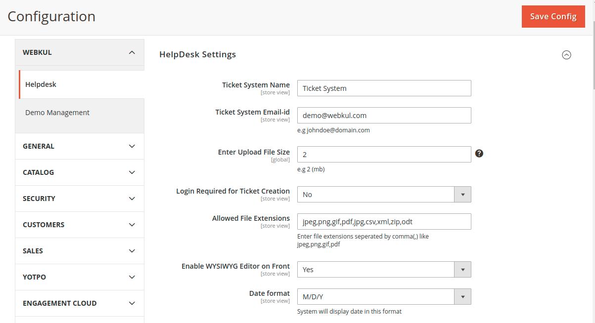 Helpdesk Setting Configuration