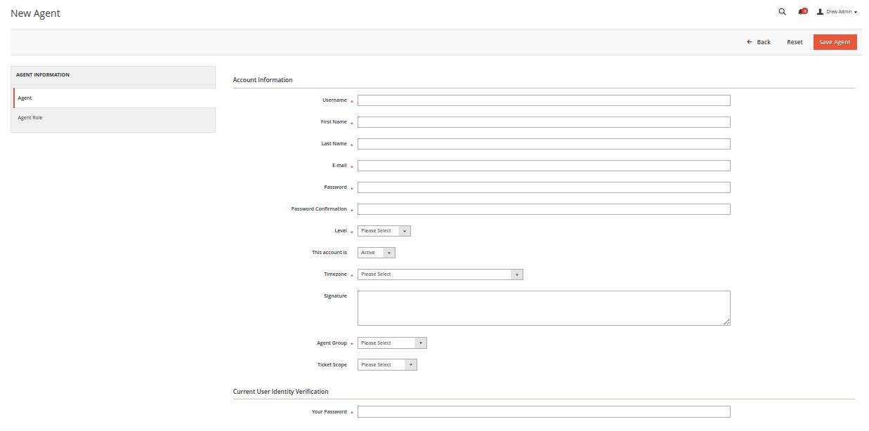 Magento 2 Helpdesk - Add New Agent