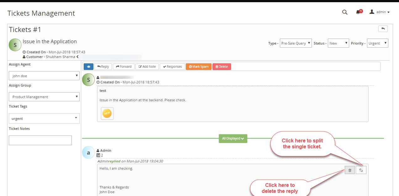 Magento 2 Helpdesk - Ticket Split