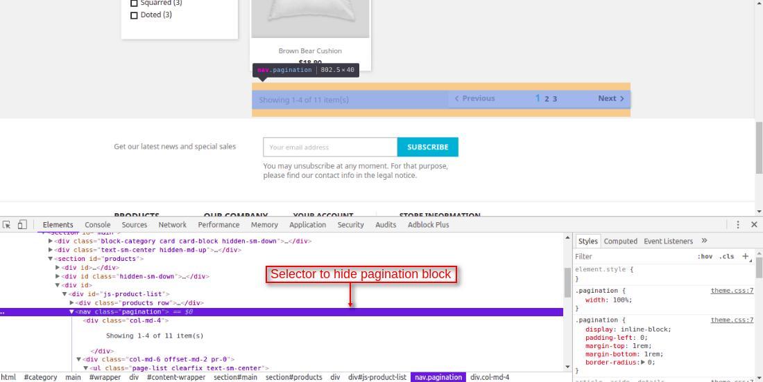 selector to hide pagination block