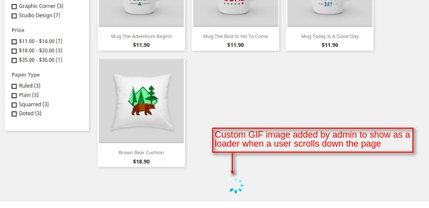custom GIF image for infinite scroll