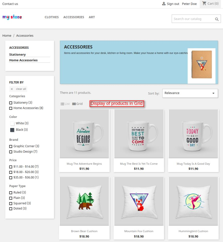 category page having grid view of products