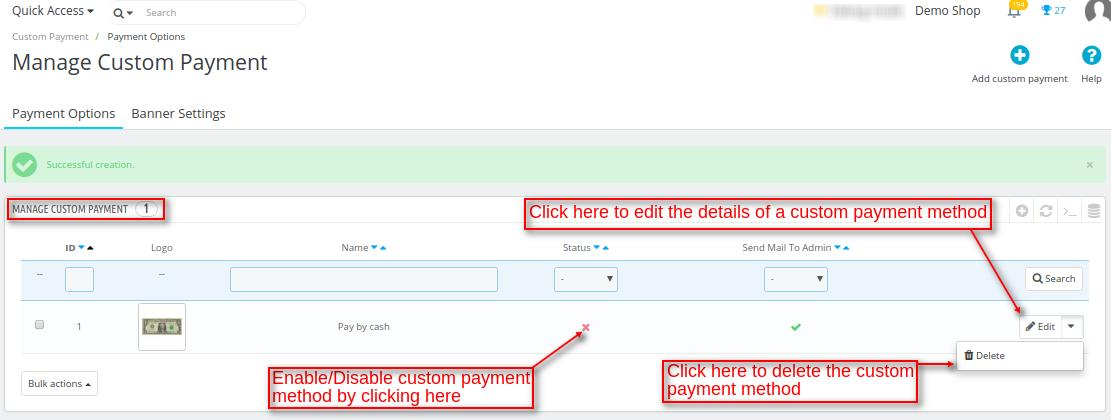 manage custom payment