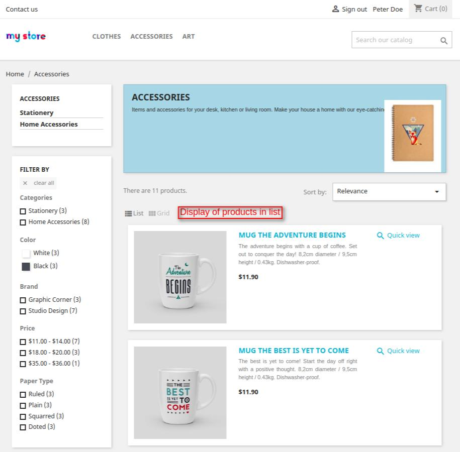 category page having list view of the products