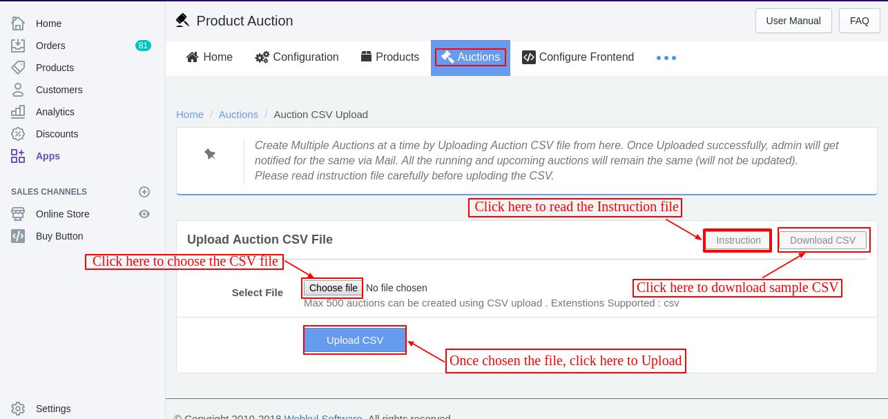 Upload CSV file-Product Auction