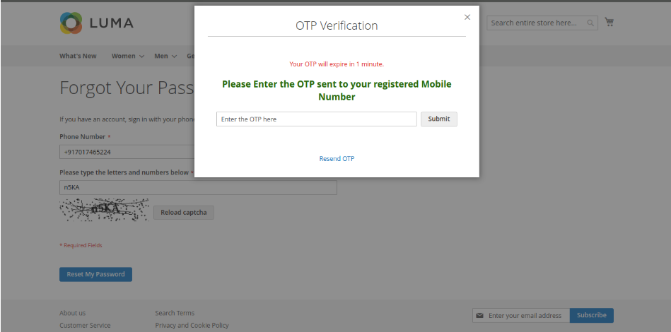 Generate OTP (if Forget the Password)