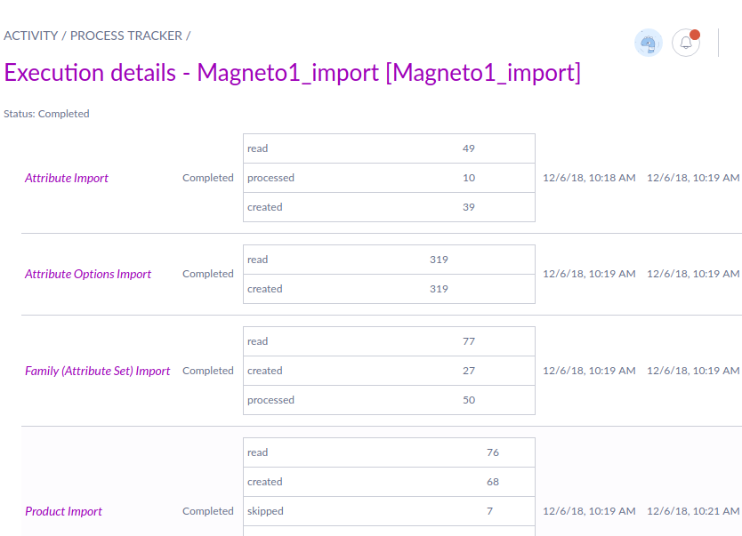 Process execution in Akeneo import profile