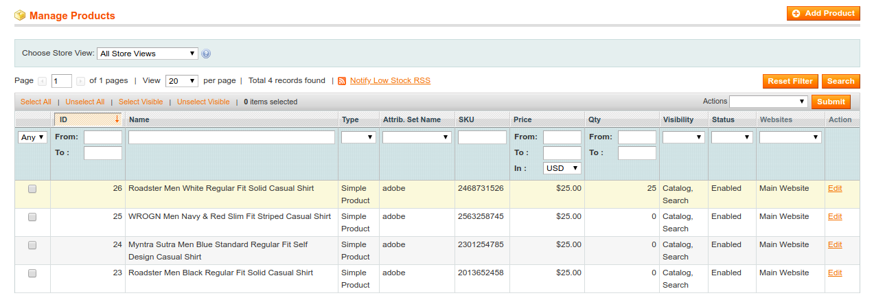 Products on Magento 1
