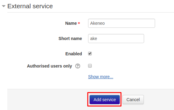 External service in Moodle