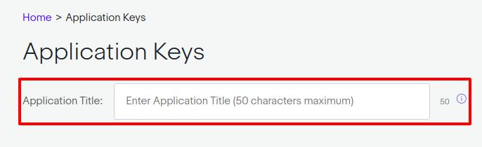 Enter an Application key