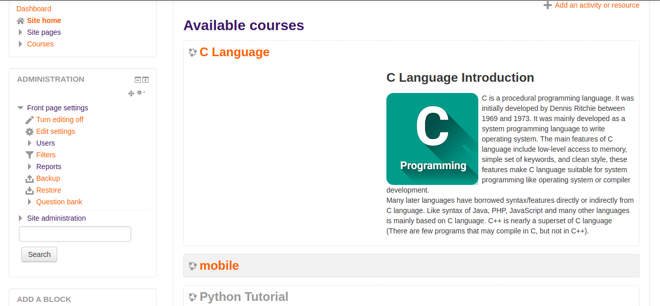 Product showing in Moodle