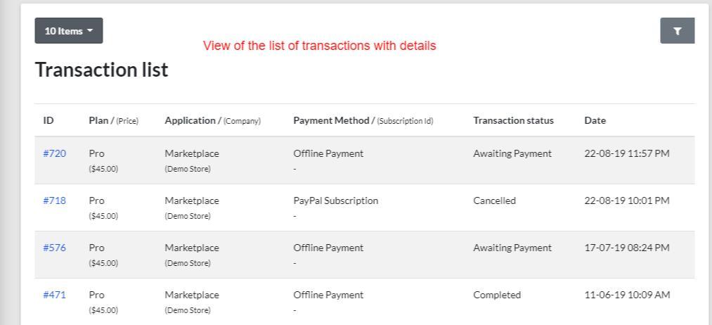 transactions list of BigCommerce multivendor marketplace