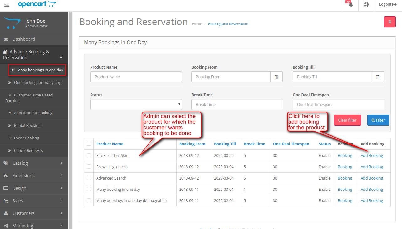 booking list