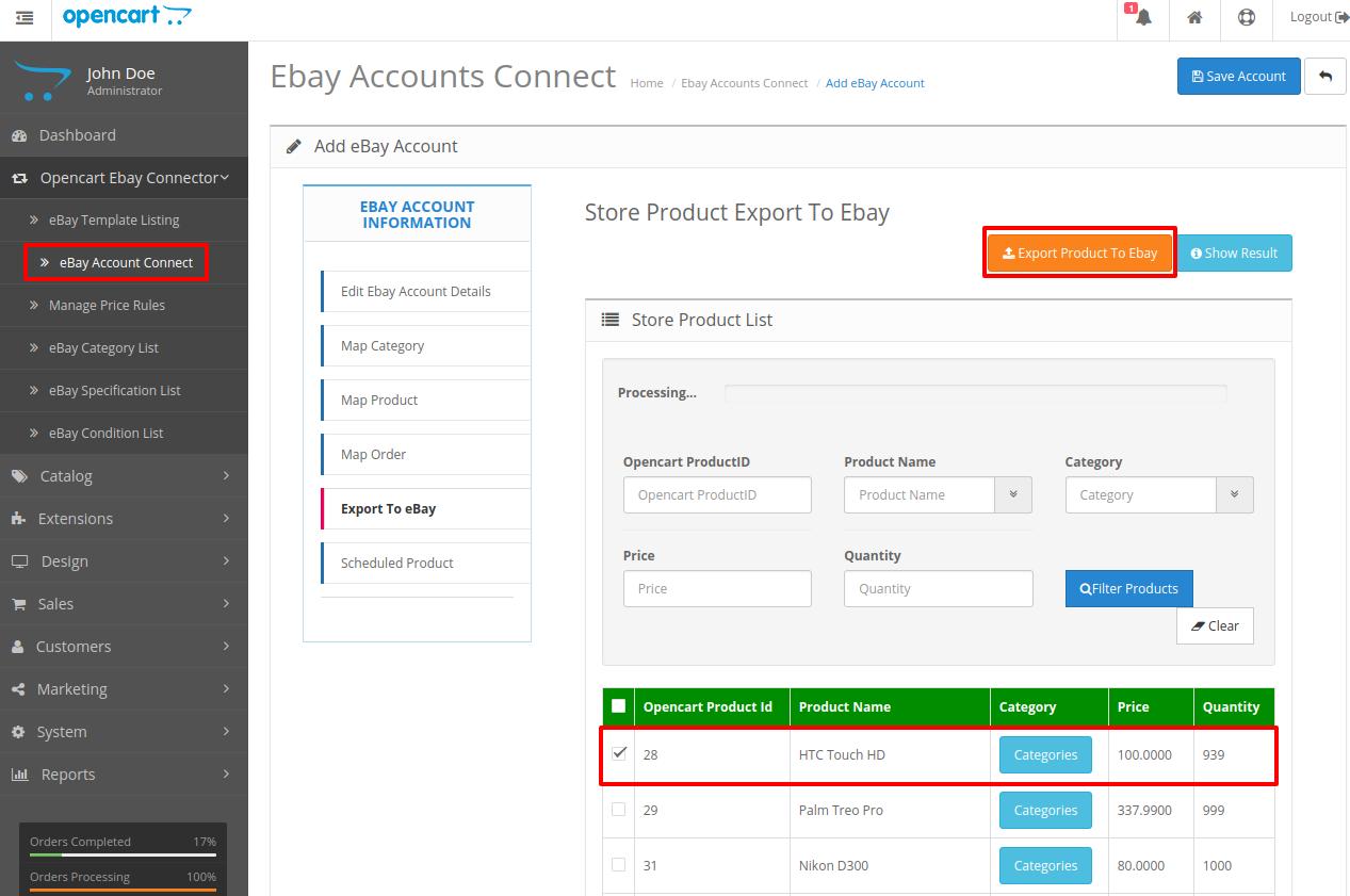 opencart-ebay-connector-export