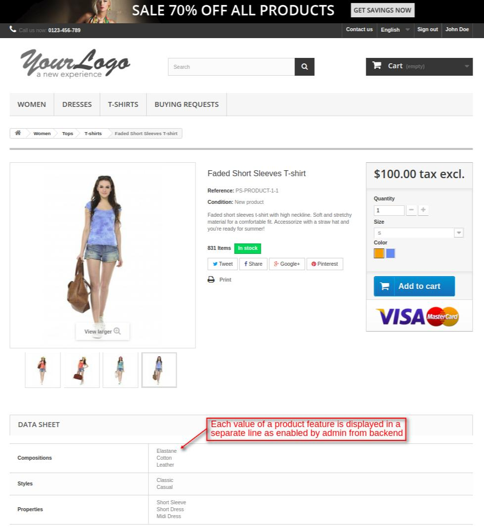 feature values on product page