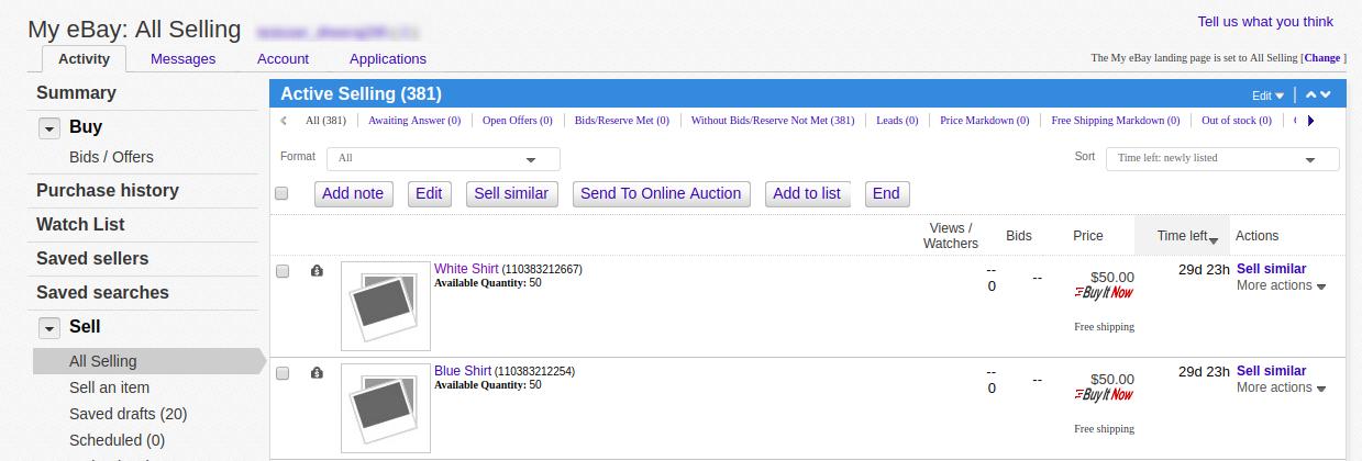 eBay product listing details