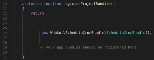Code in AppKernel.php File