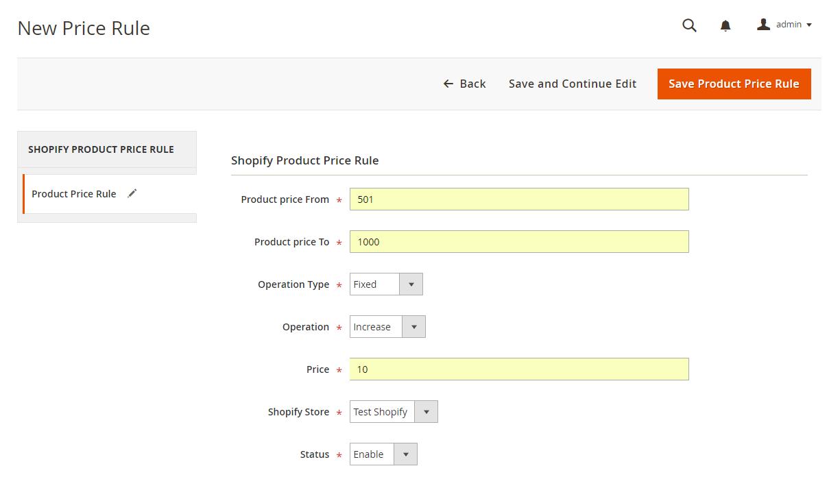 Shopify Magento 2 add-rule