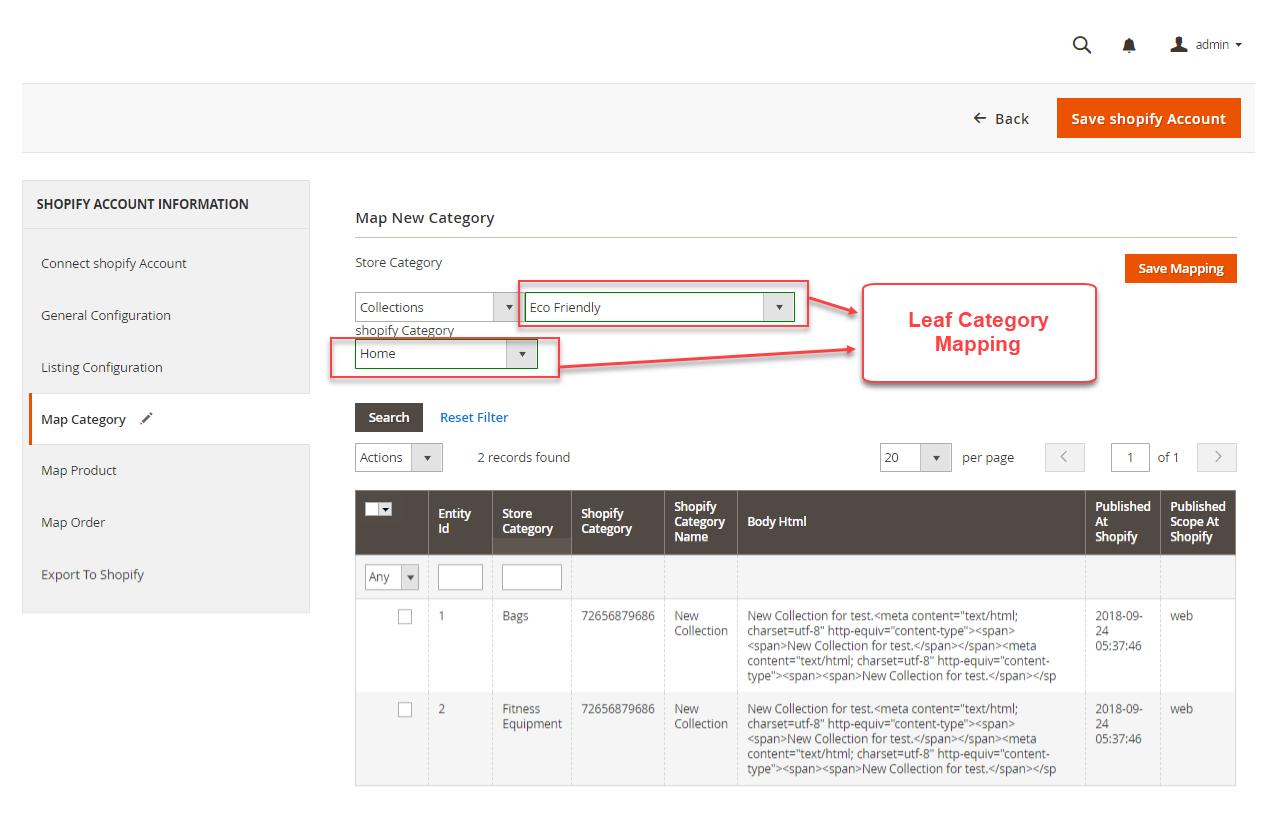 Shopify Magento 2 category-mapped