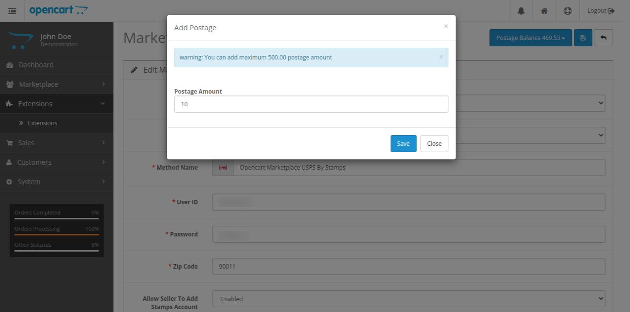 webkul-opencart-marketplace-usps-shipping-admin-configurations-add-postage-1
