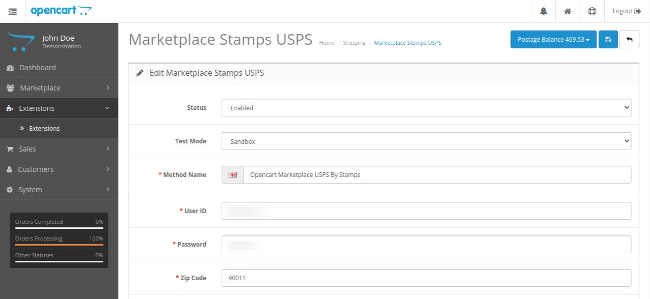 webkul-opencart-marketplace-usps-shipping-admin-configurations-postage-button-visibility-on-saving-1