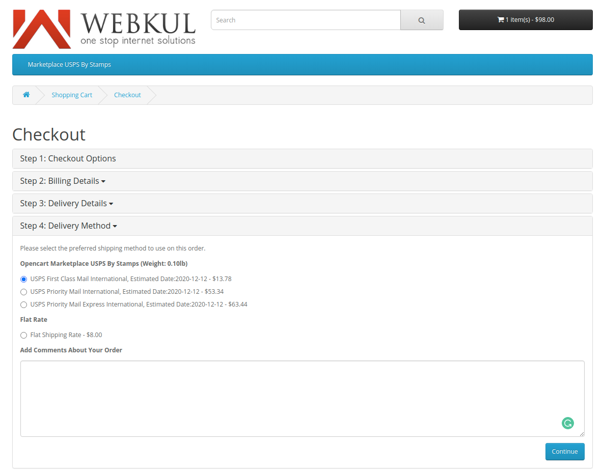 webkul-opencart-marketplace-usps-shipping-choose-delivery-method-for-international-shipping