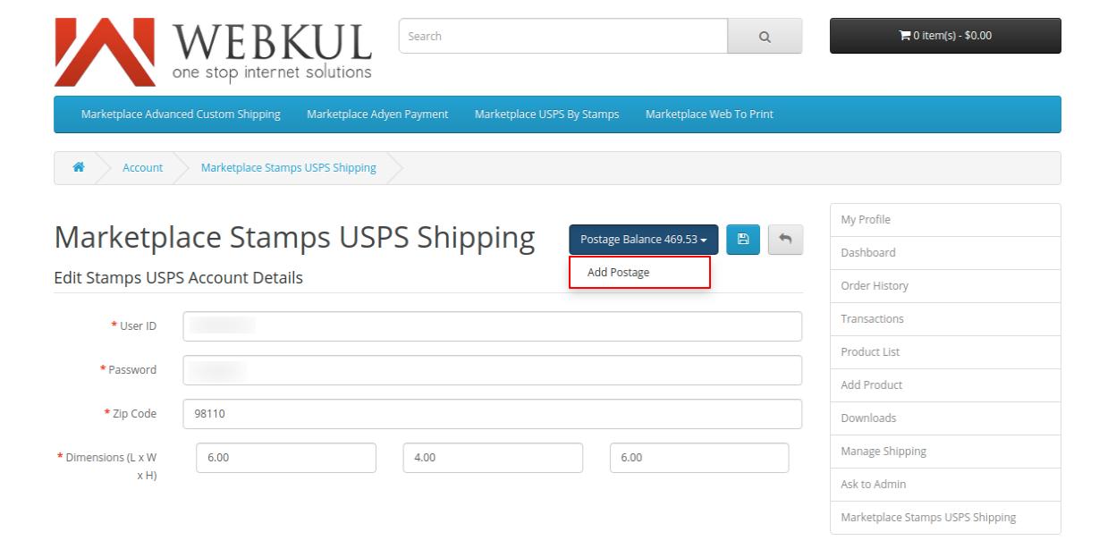 webkul-opencart-marketplace-usps-shipping-seller-end-add-postage-1