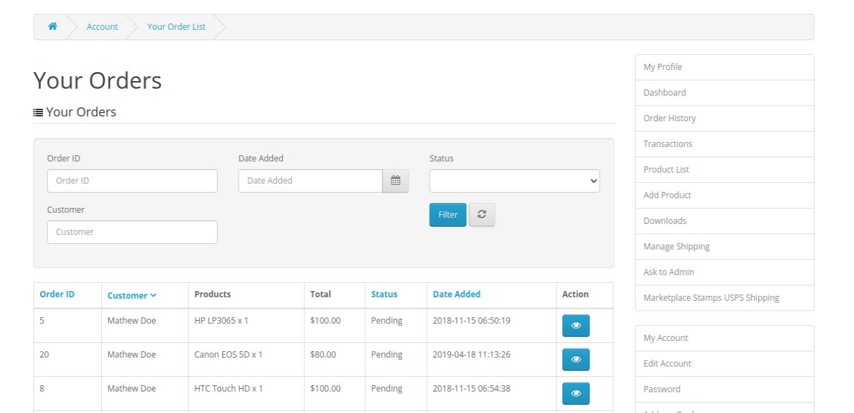 webkul-opencart-marketplace-usps-shipping-seller-end-order-order-list