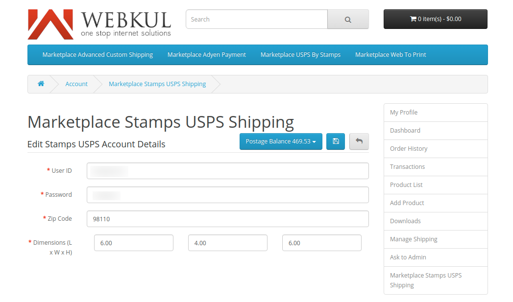 webkul-opencart-marketplace-usps-shipping-seller-end-postage-button-visibility-on-saving