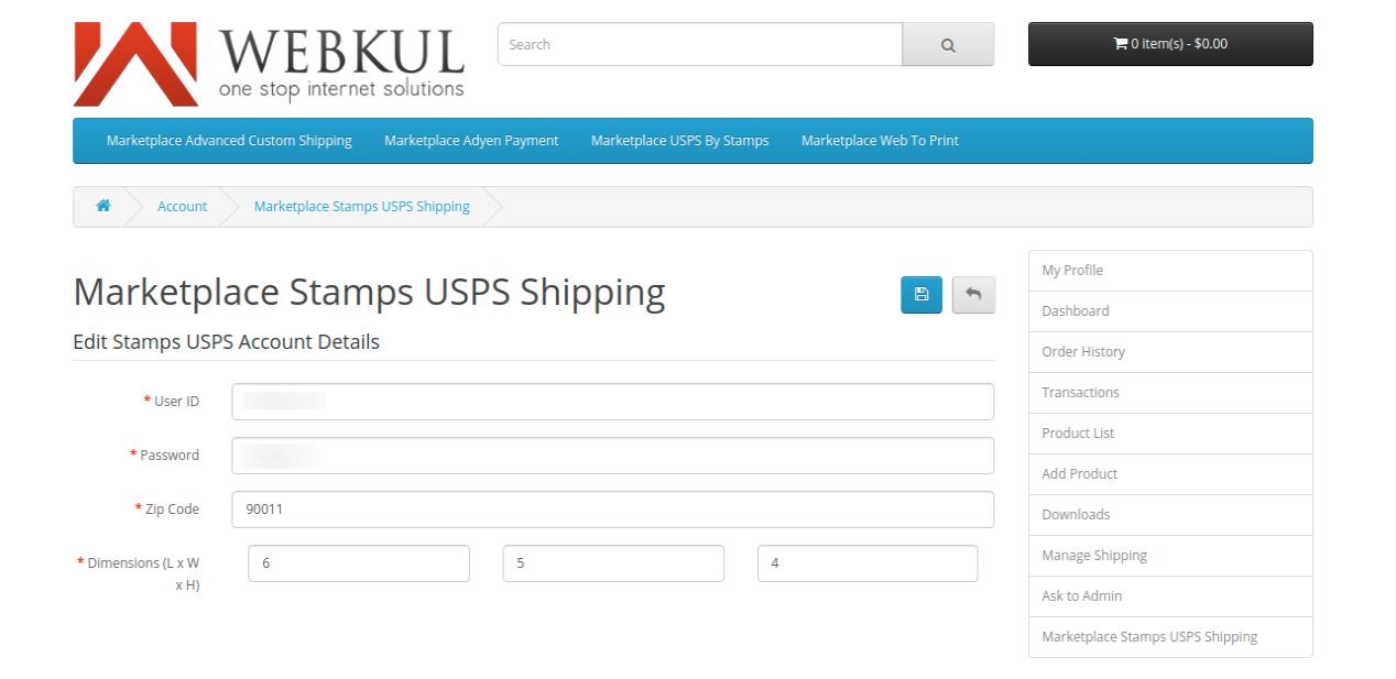 webkul-opencart-marketplace-usps-shipping-seller-end-settings