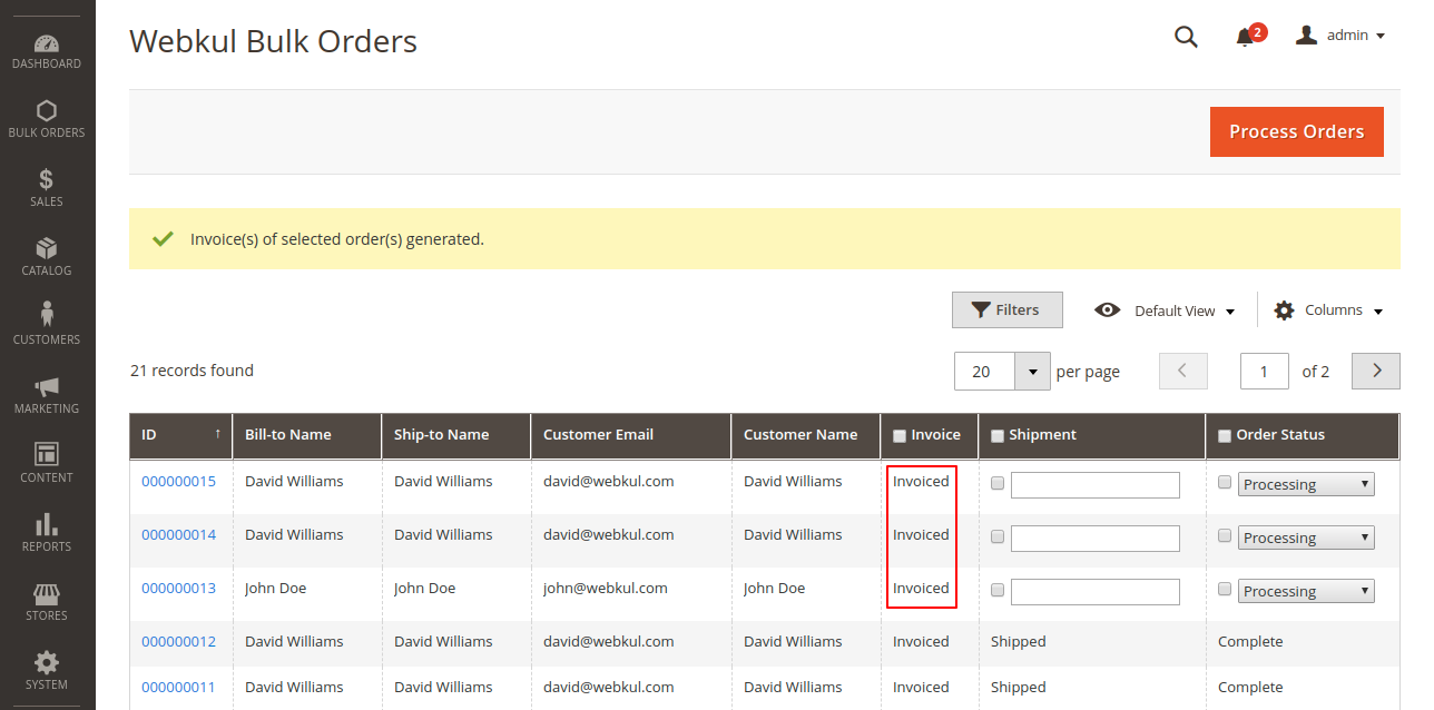webkul-magento2-bulk-order-processing-items-invoiced