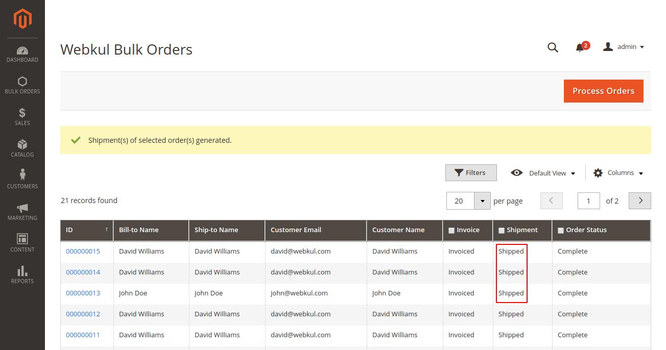 webkul-magento2-bulk-order-processing-shipment-generated