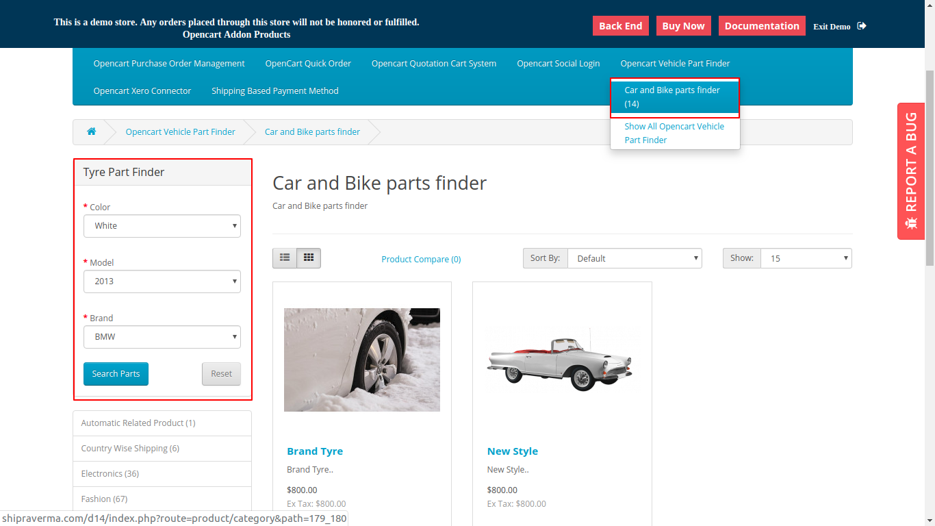 Opencart Car Parts Finder | Vechile Make Model Year Extension