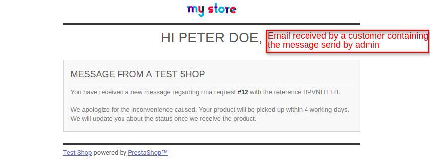 mail to customer