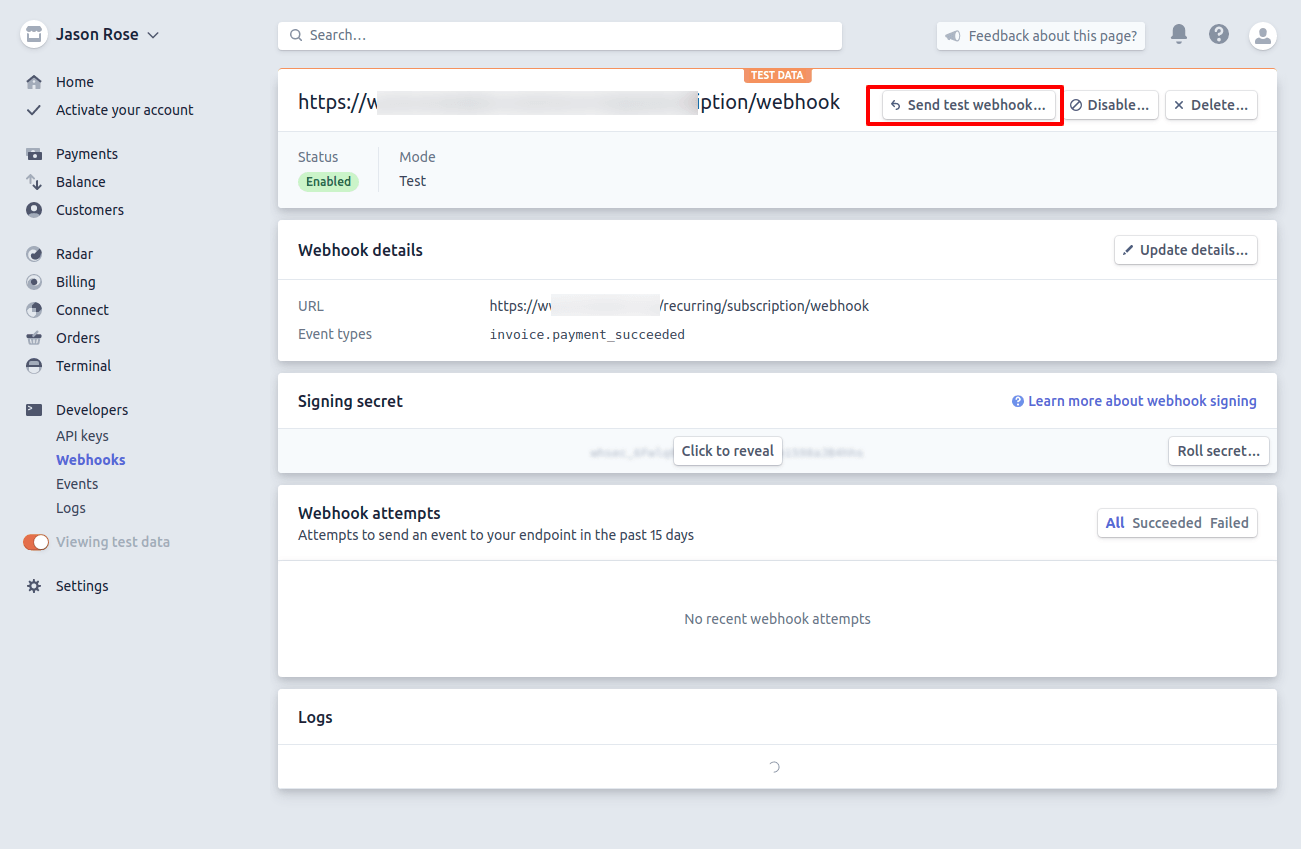 Magento2 Recurring Payment Subscription - Dashboard – Whosthechef – Stripe Test