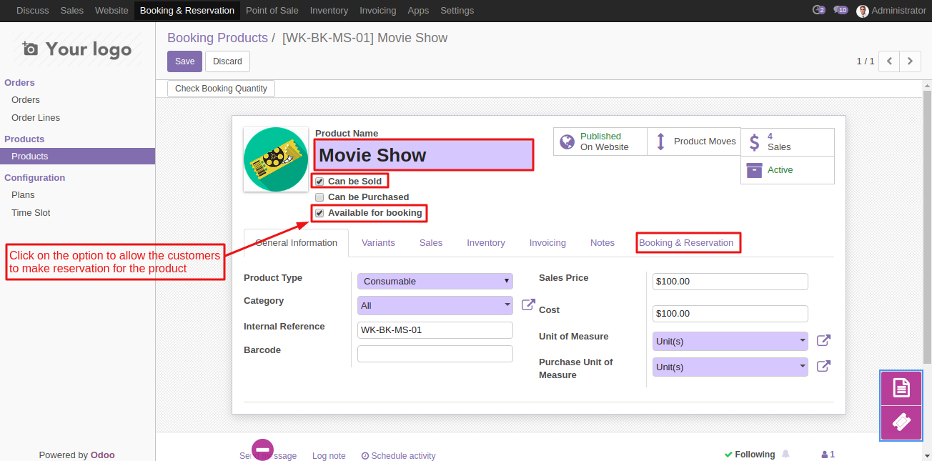 Create Booking Product in Odoo 2
