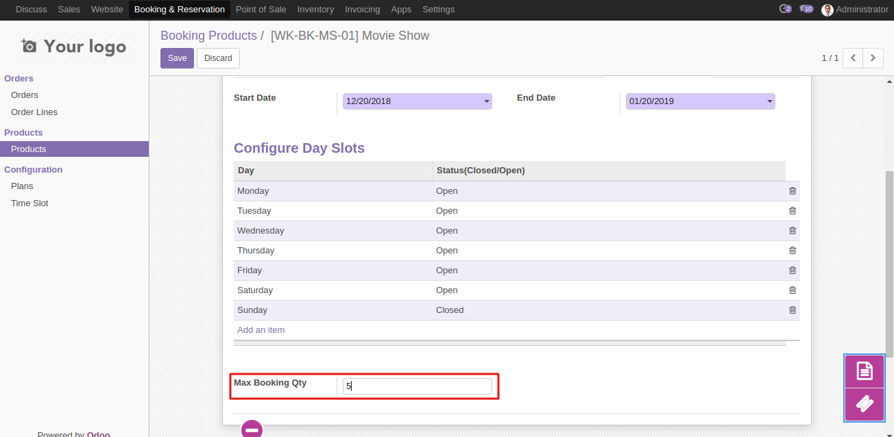 Create Booking Product in Odoo 4