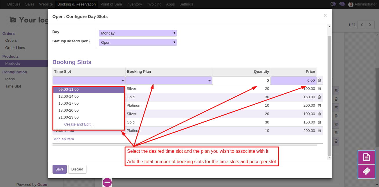 Create Booking Product in Odoo 6