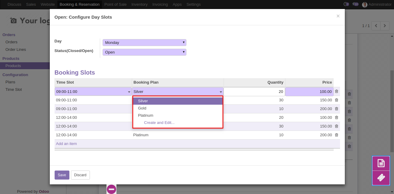 Create Booking Product in Odoo 7